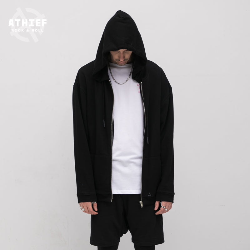 Athief Darkness Hooded male Gothic letter printed Cardigan coat