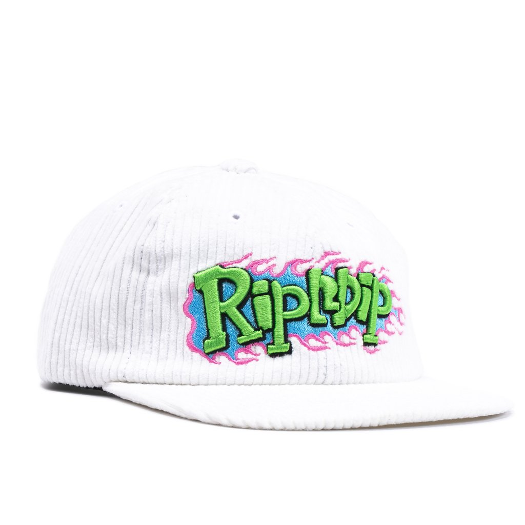 Flaming Hot Corduroy Strapback (White)