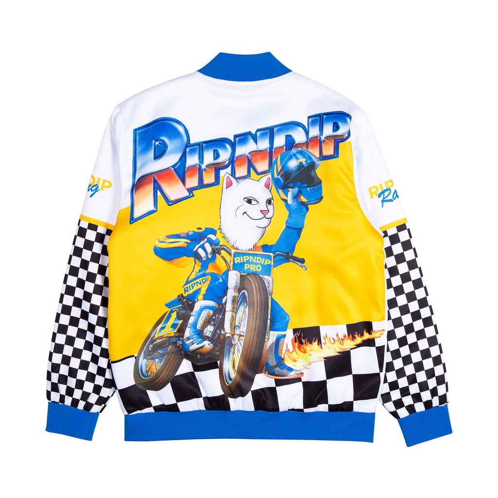 Speed Racing Poly Varsity Jacket (White)