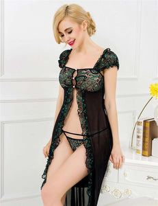Lingerie De Paris llc:Exquisite Princess Lace Evening Gown Set