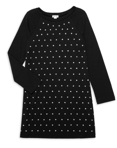 Hayden Asymmetrical Ruffle Dotted Swing Dress