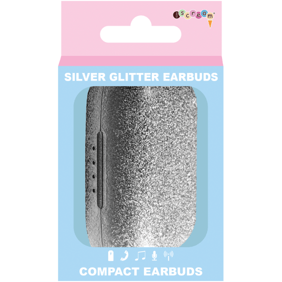 Silver Glitter Compact Earbuds