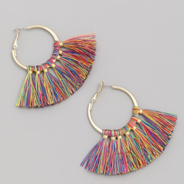 Tassel Fan Hoop Earrings