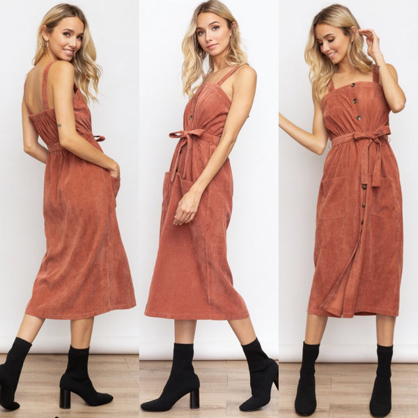 Tie Waist Corduroy Midi Dress