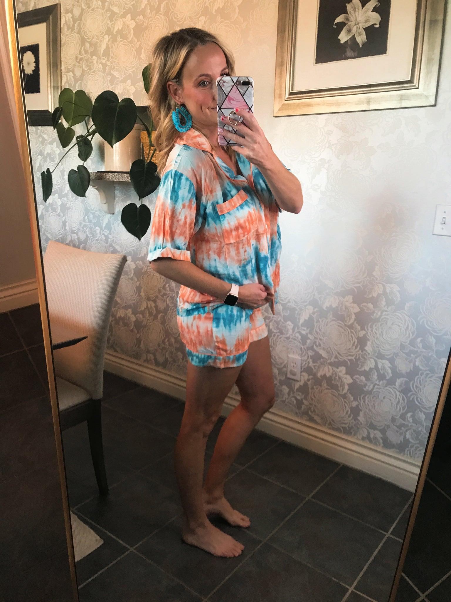 Orange and Teal PJ set