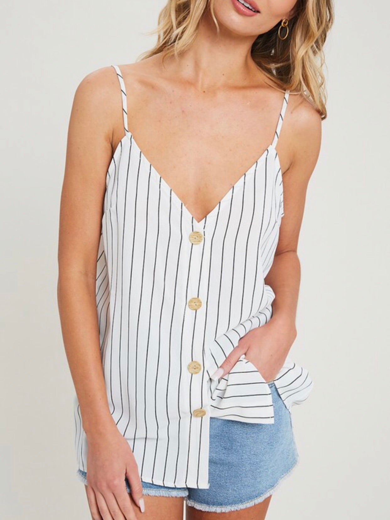Striped Button Down Tank