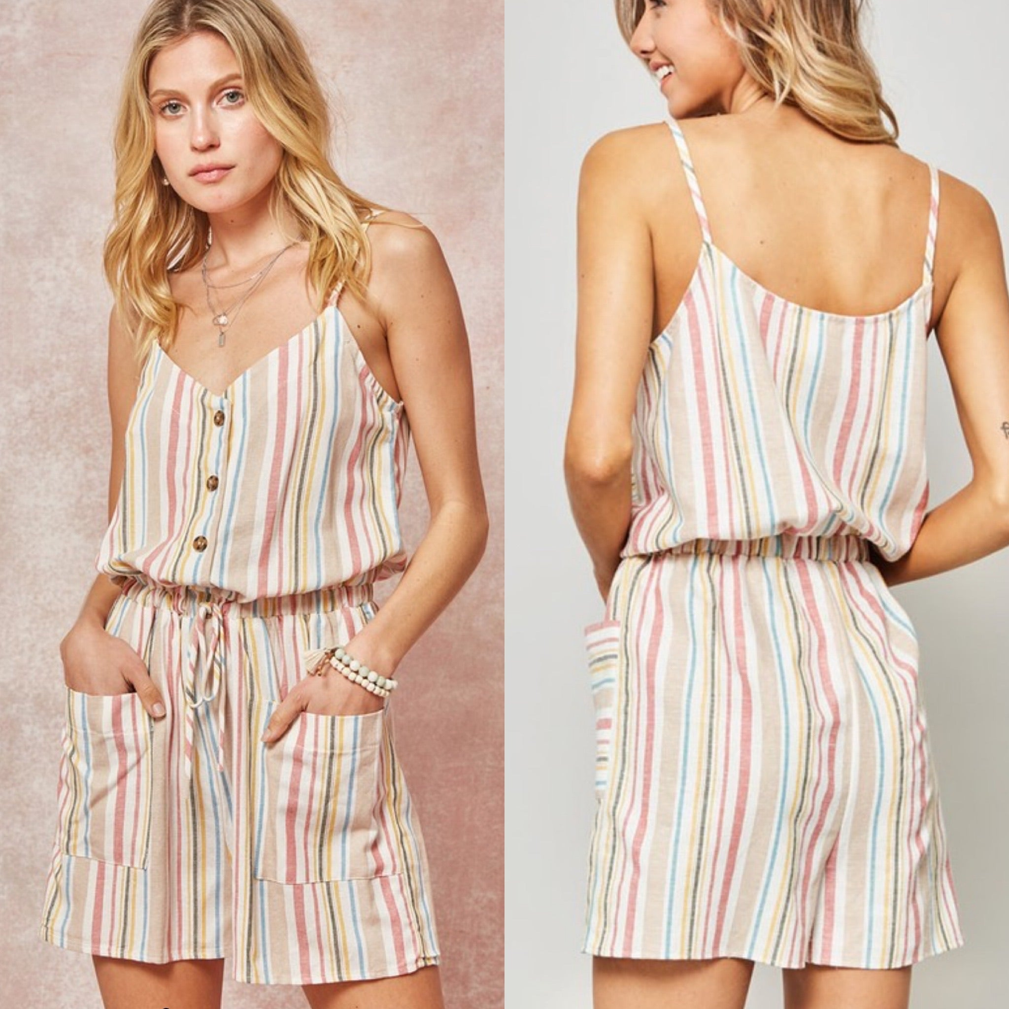Drawstring Pocket Romper