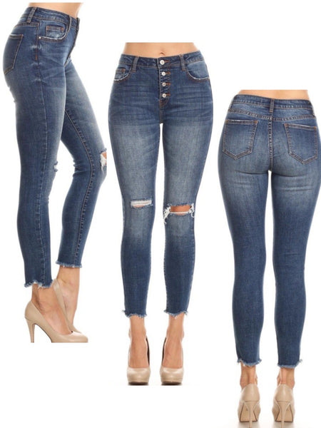 KYLIE HIGH RISE  4 BUTTON RAW HEM ANKLE SKINNY