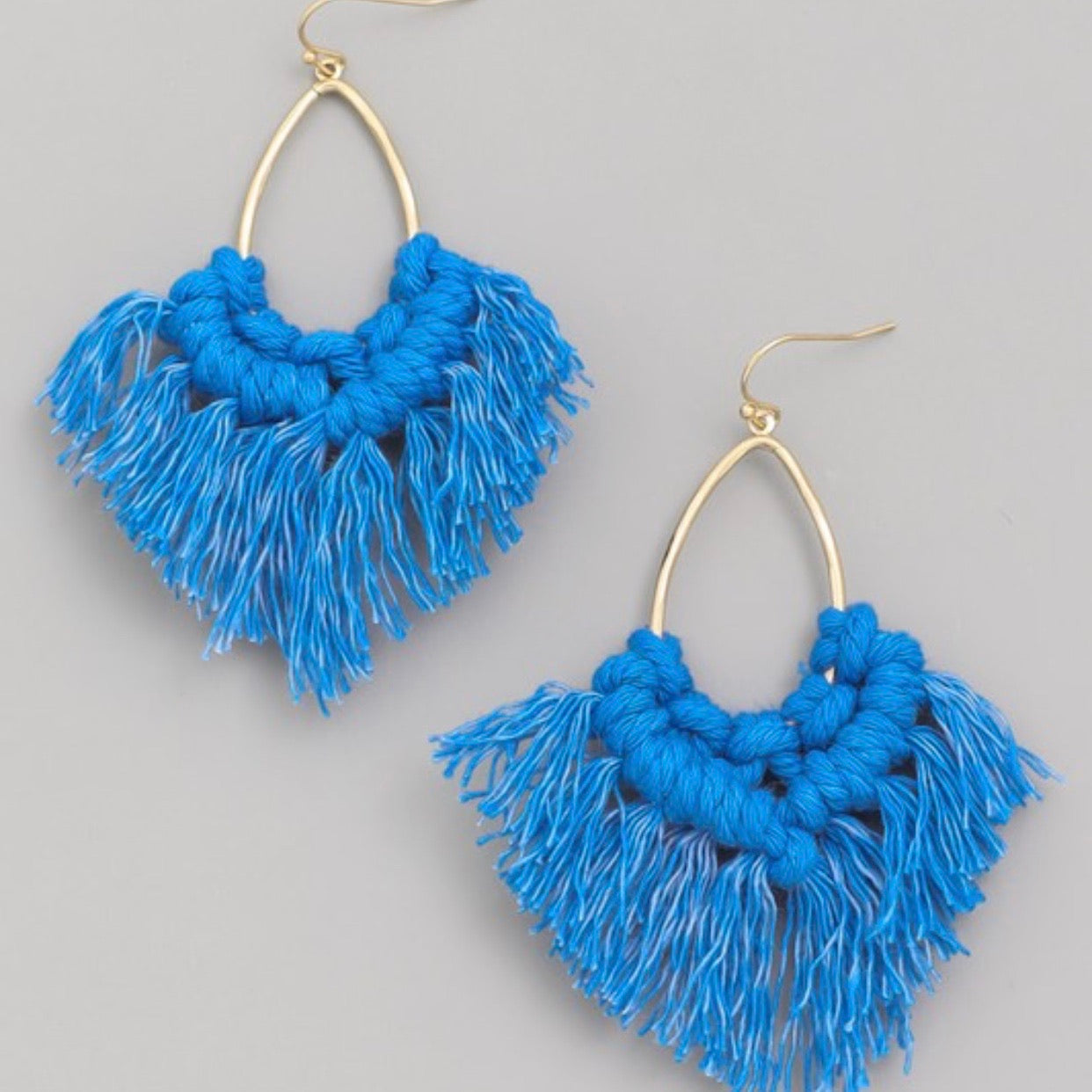 Oval Tassel Fringe Earrings