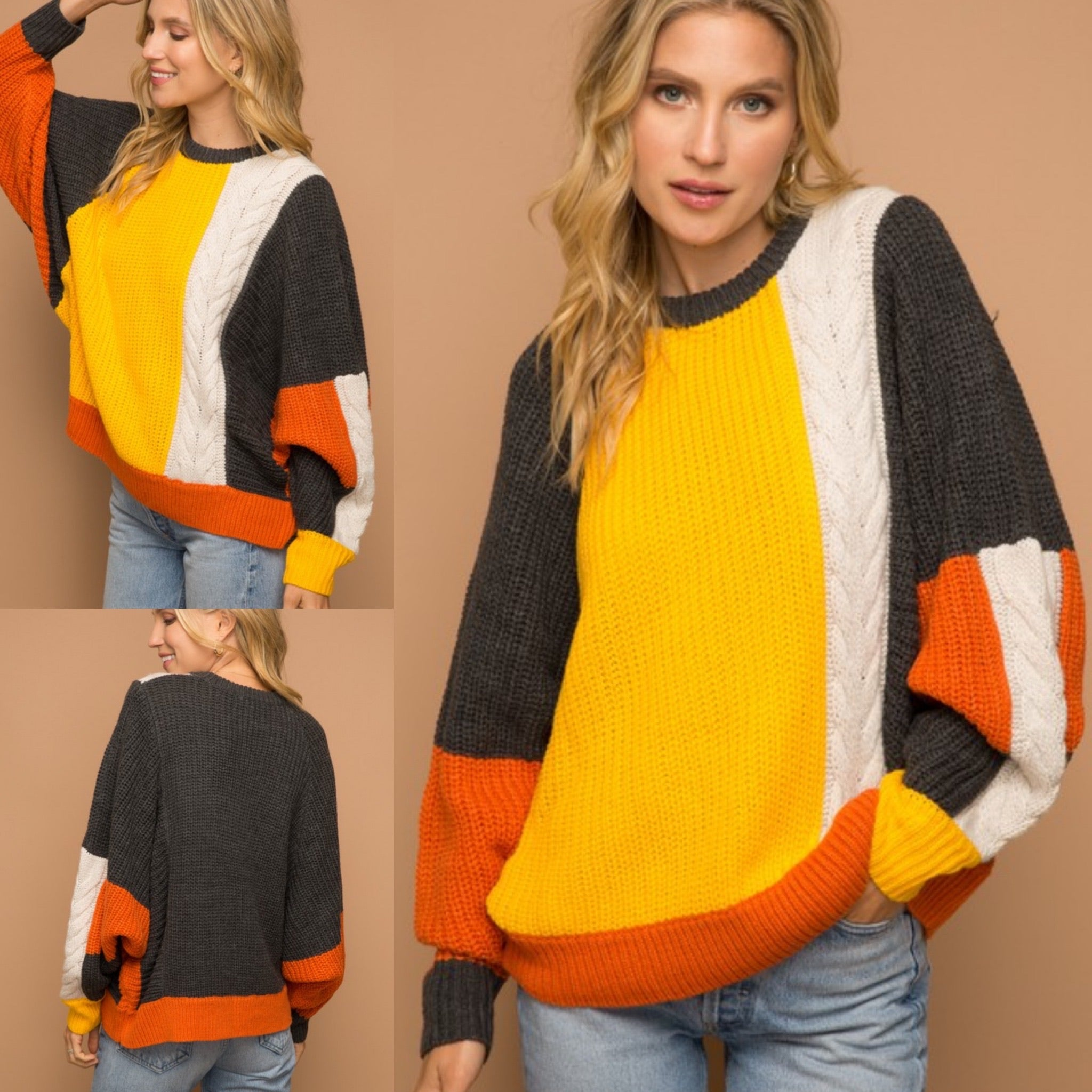 Color Block Braided Sweater