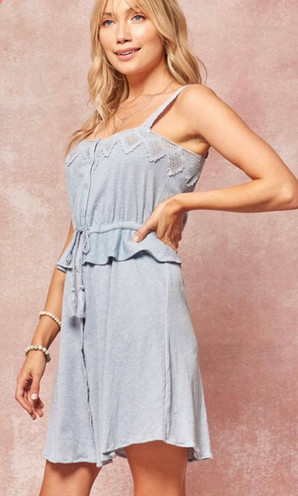 Crochet Lace Denim Dress
