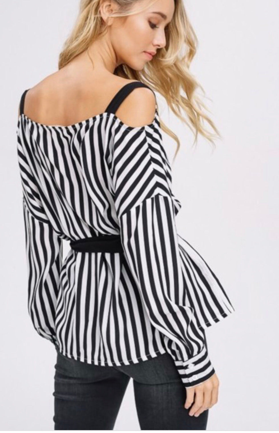 Striped Black and White  Wrap Top