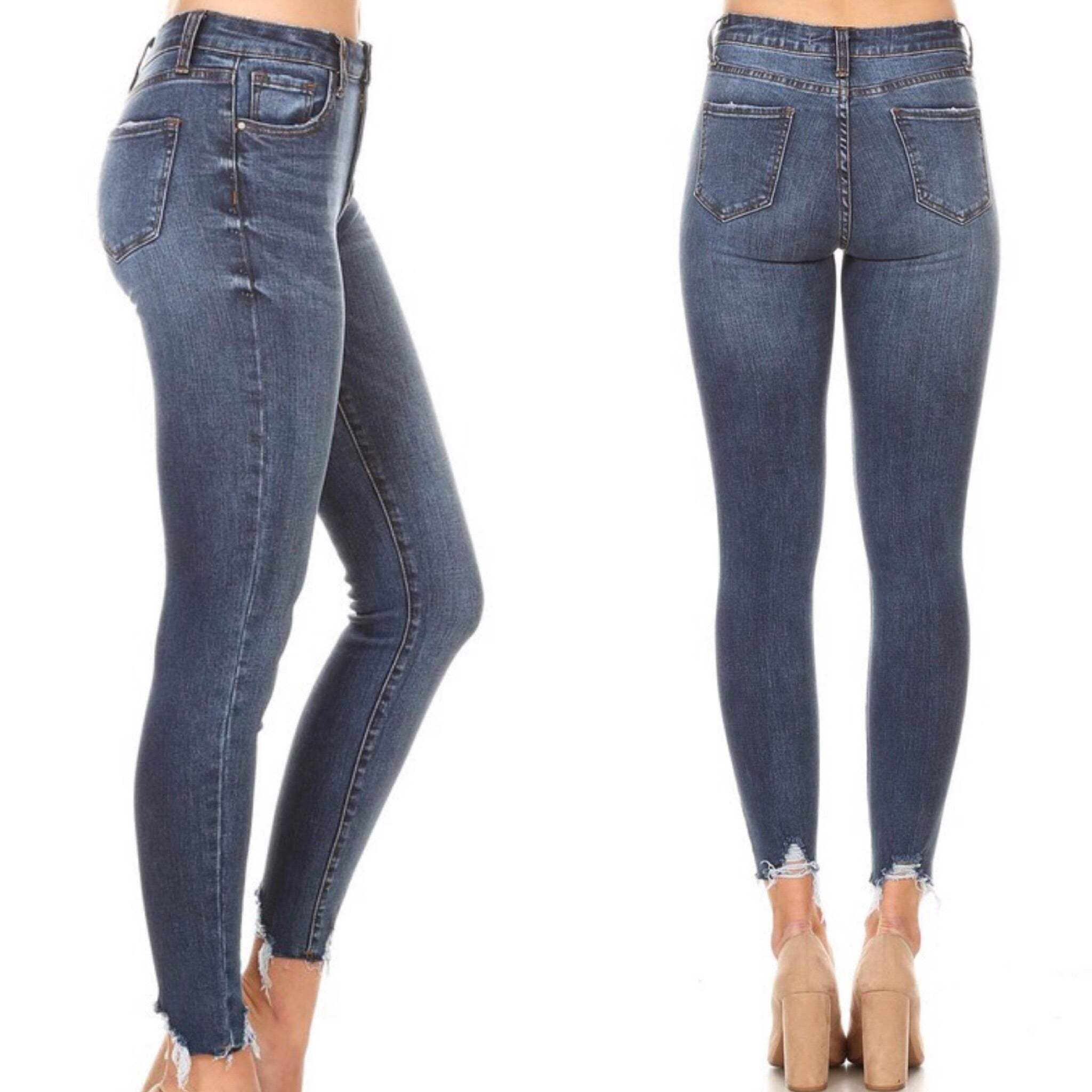 KYLIE HIGH RISE RAW HEM ANKLE SKINNY