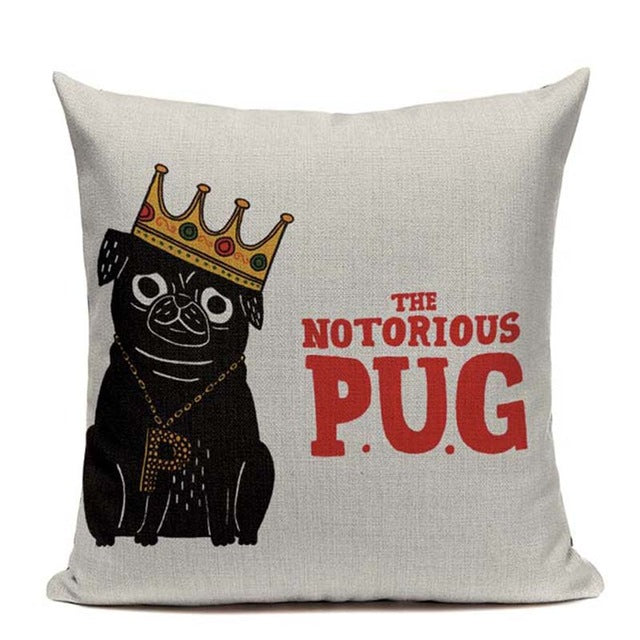 The Notorious Pug Cushion Cover