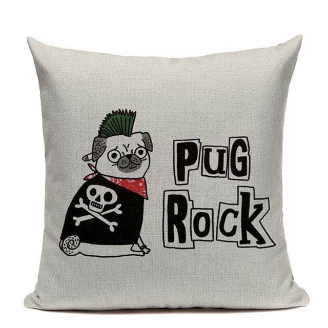 Pug Rock Cushion Cover