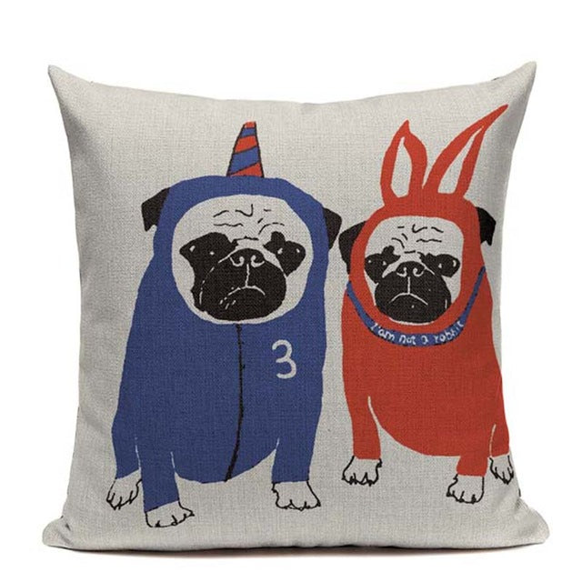 Twin Pugs Cushion Cover