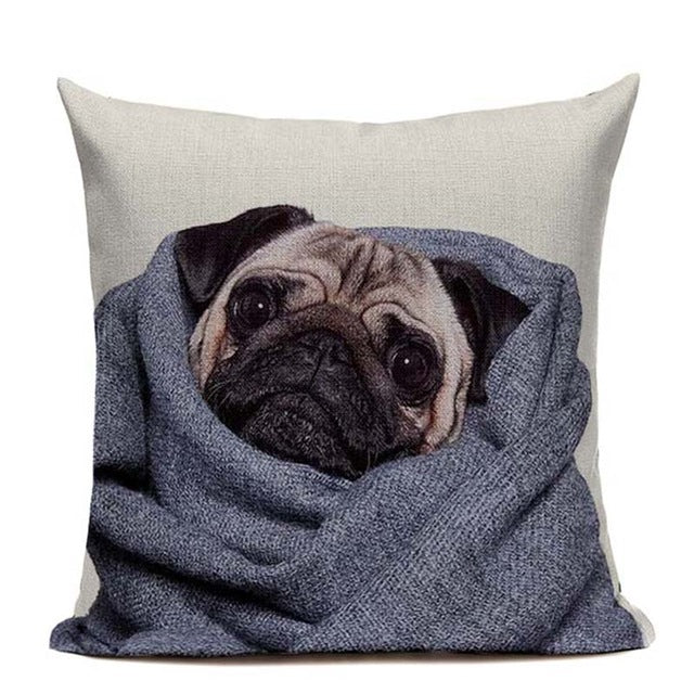 Cozy Pug Cushion Cover