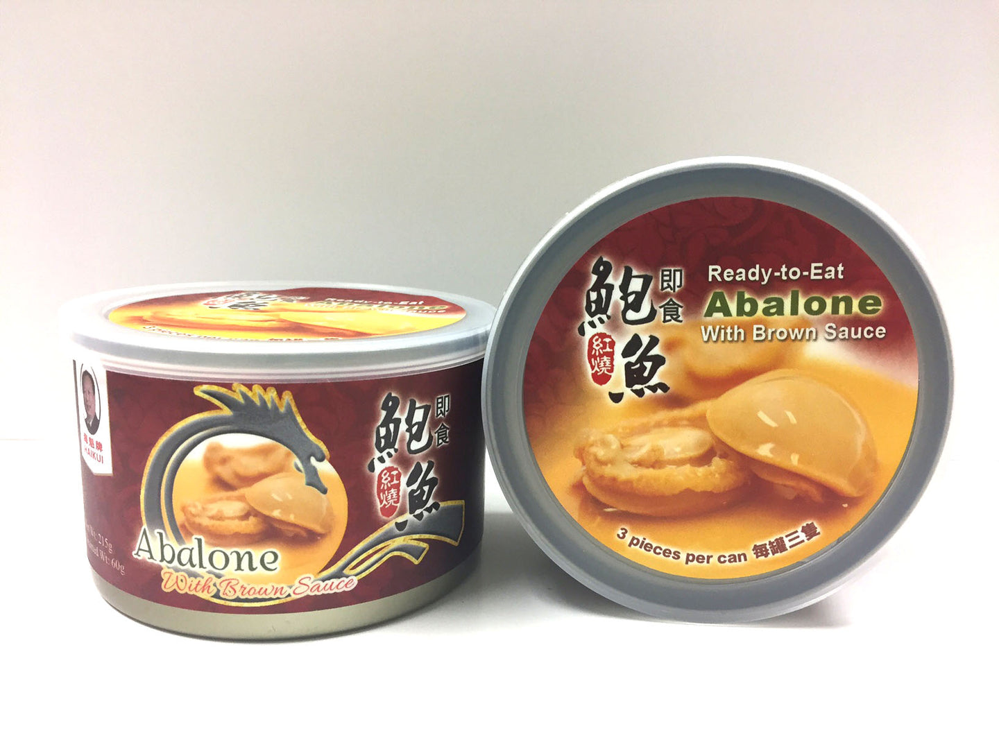 Haikui Ready-To-Eat Abalone with Brown Sauce (3pc/can) 海魁牌即食紅燒鮑魚3隻裝