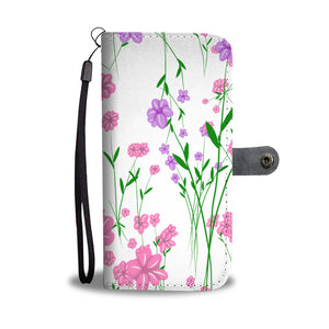 Pink and Purple Flower Leather Look Phone Case
