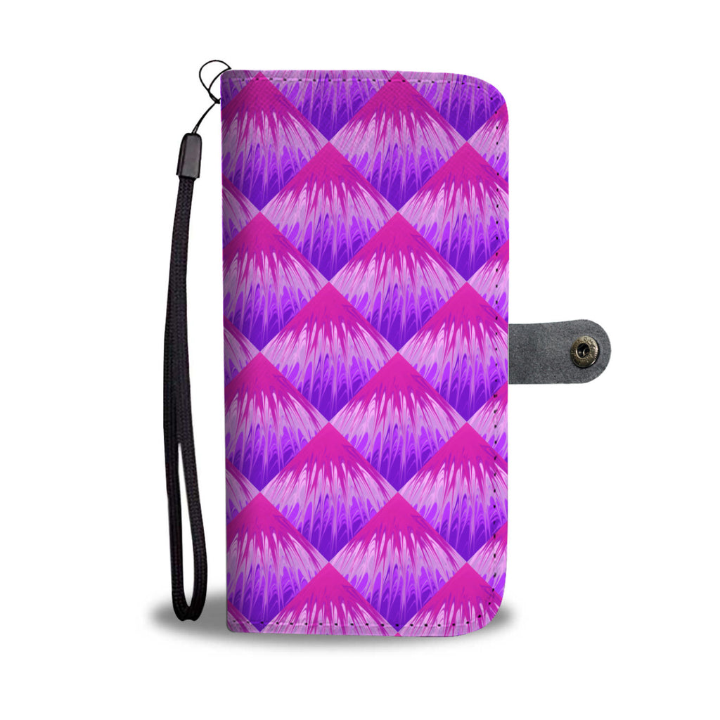 Purple Color Pour Painted Leather Look Wallet Phone Case