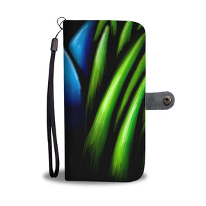 Blue Flower in Grass Leather Look Wallet Phone Case