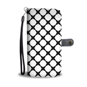 Black and White Leather Look Wallet Phone Case