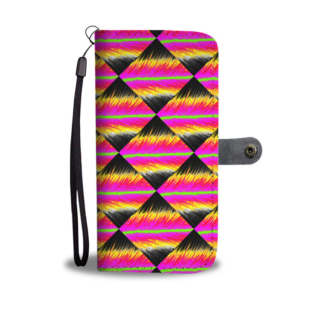 Pink to Black Pour Painted Leather Look Wallet Phone Case