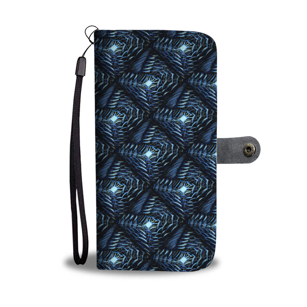 Dark Blue Design Leather Look Wallet Phone Case
