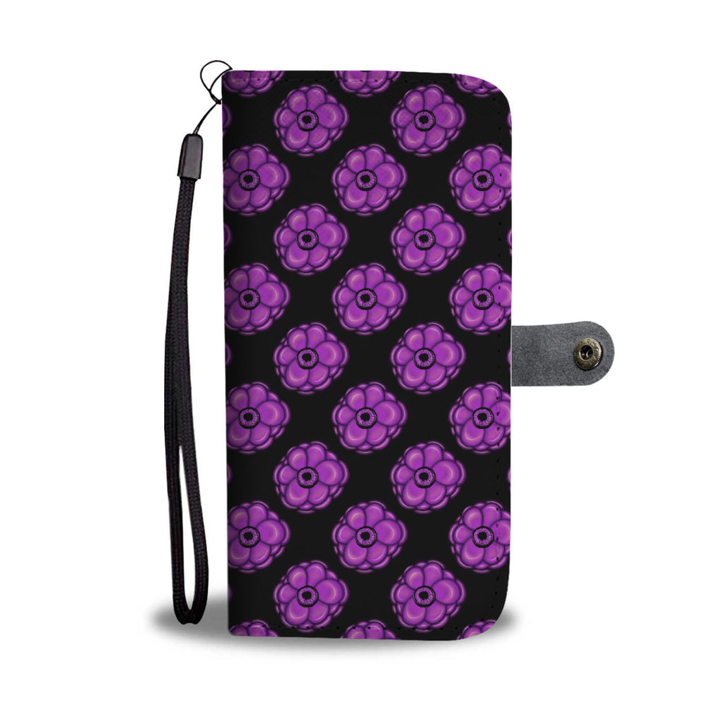 Purple Flower Leather Look Wallet Phone Case