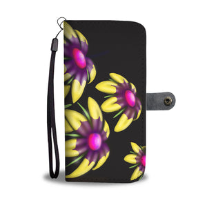 Yellow and Pink Flower Leather Look Wallet Phone Case