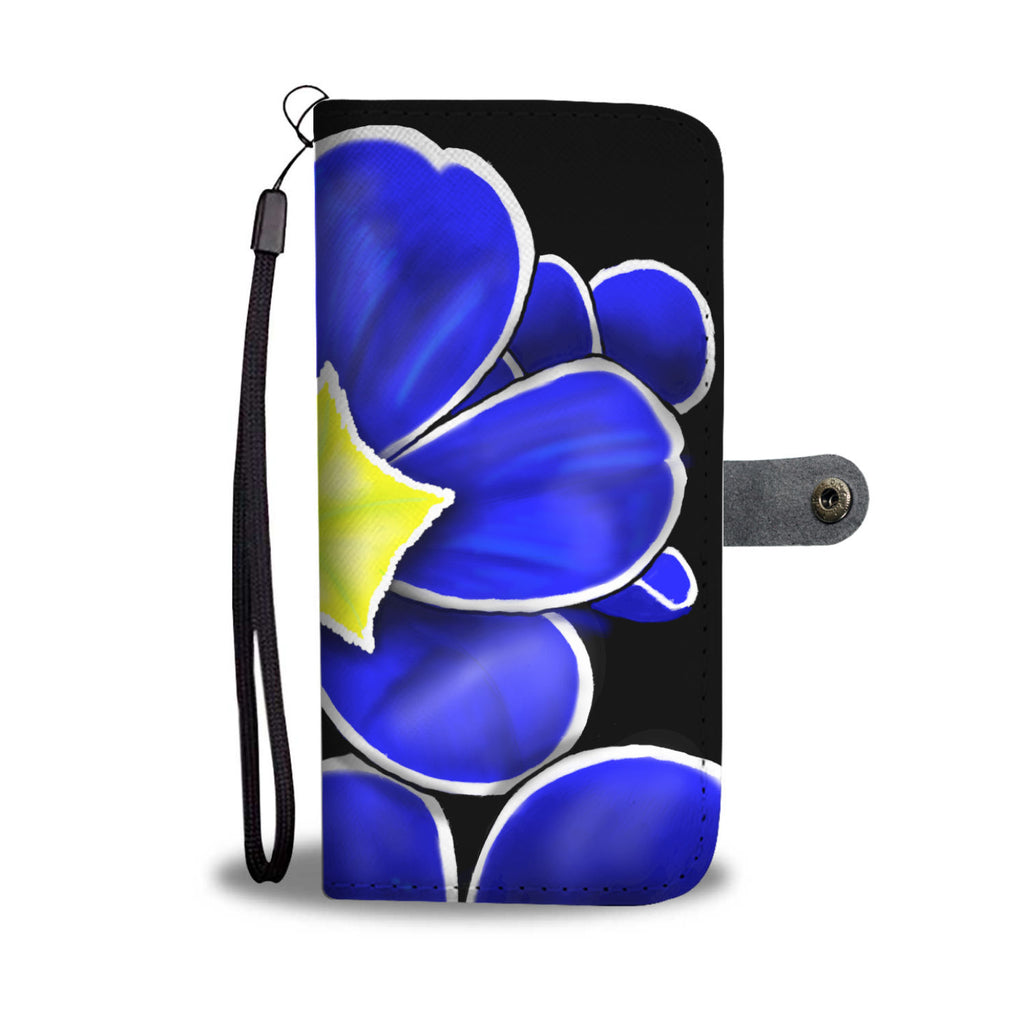 Blue Prim Rose Leather Look Wallet Phone Case