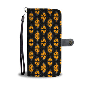 Monarch Butterfly Leather Look Wallet Phone Case