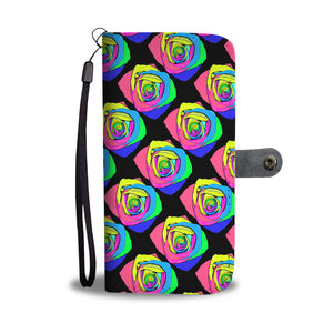 Rainbow Rose Leather Look Wallet Phone Case