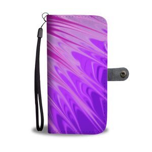 Purple Pour Painted Leather Look Wallet Phone Case