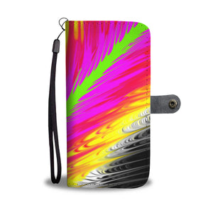Multicolor Pour Painted Leather Look Wallet Phone Case