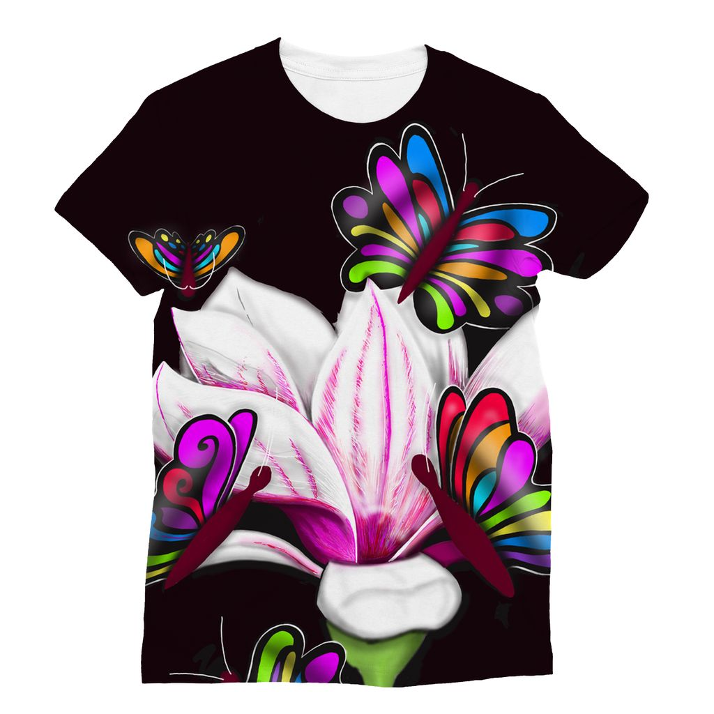 Pinkish Butterfly Flower T-Shirt