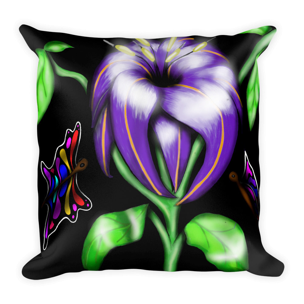 Butterfly Flower Floral Throw Pillow