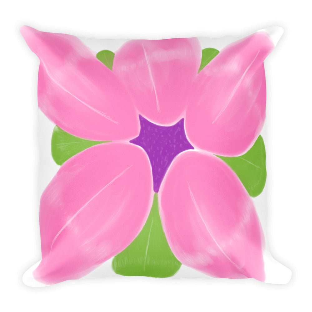 Watercolor Inspired Abstract Pink Flower Throw Pillow