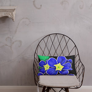 Blue Prim Rose Flower Floral Throw Pillow