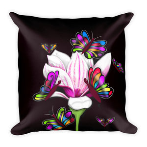 Pinkish Butterfly Flower Floral Throw Pillow