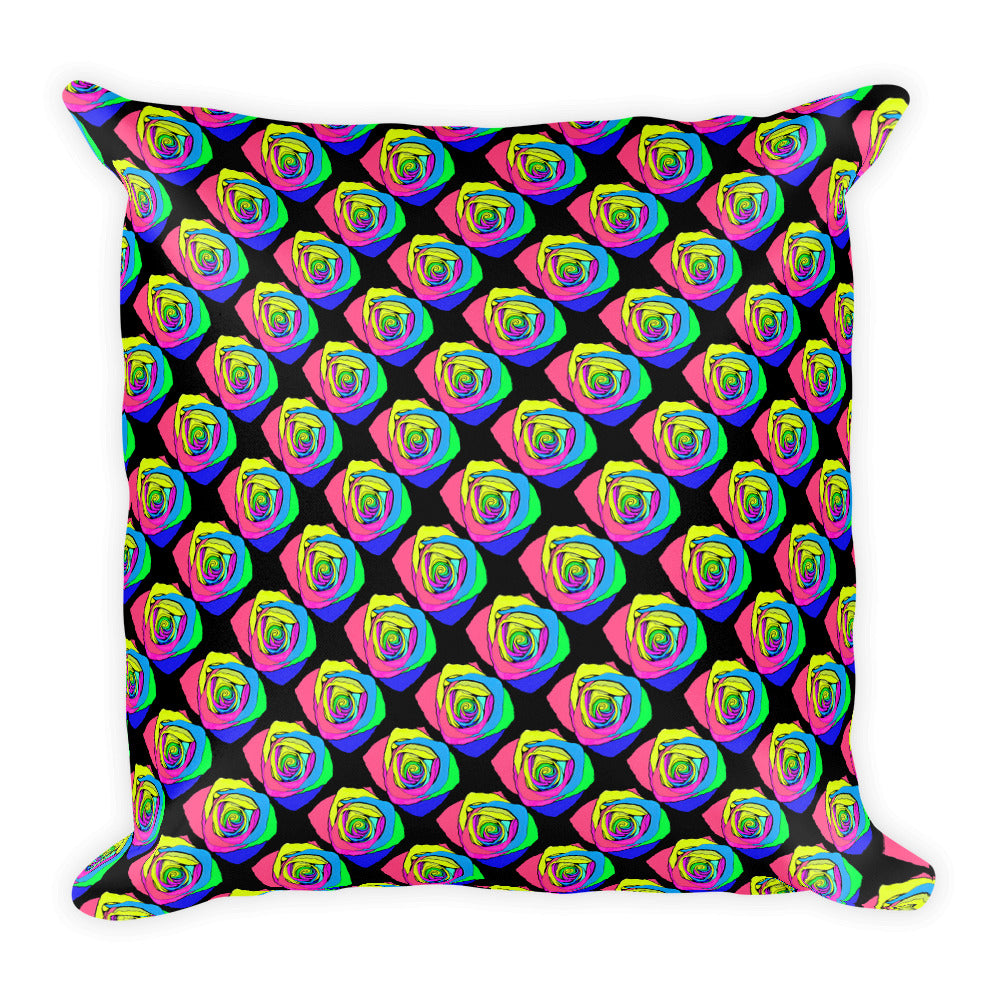 Rainbow Rose Flower Floral Throw Pillow
