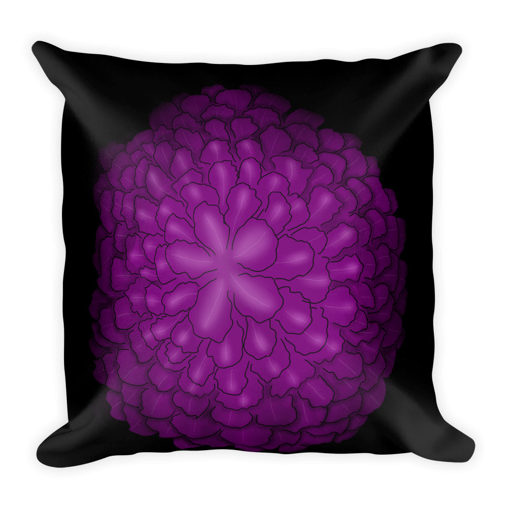 Purple Flower Floral Throw Pillow
