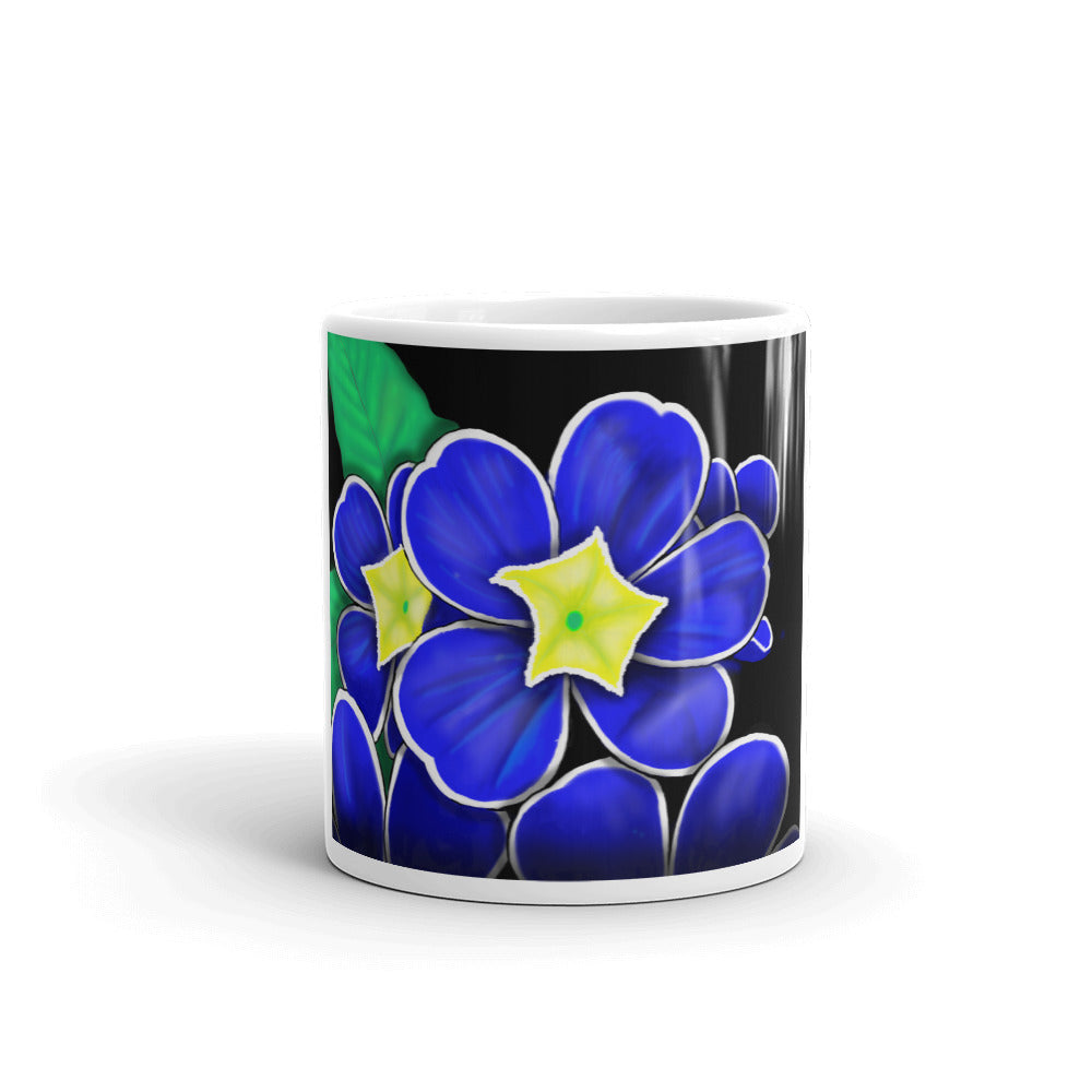 Blue Prim Rose Floral Flower Mug