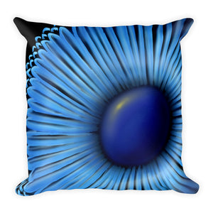 Abstract Blue Sunflower Throw Pillow
