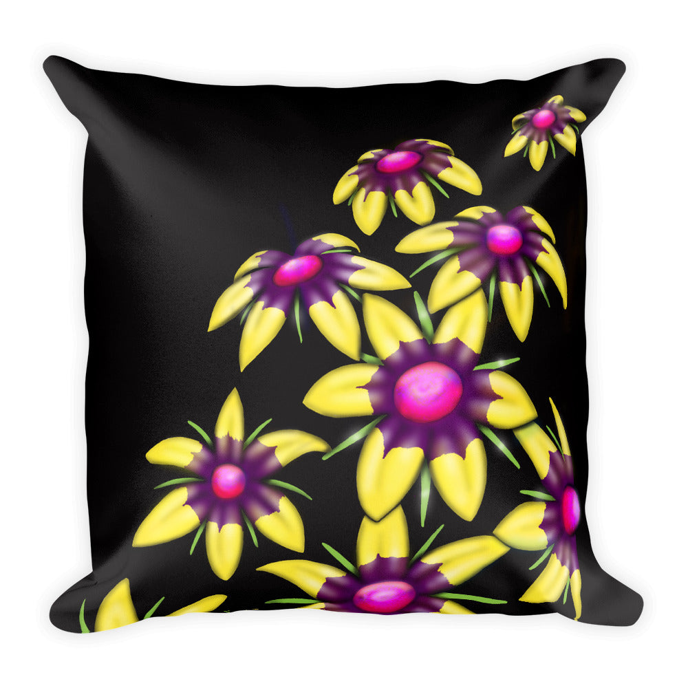Yellow Multiflower Floral Pillow