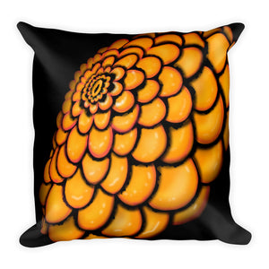 Orange Abstract Flower Throw Pillow