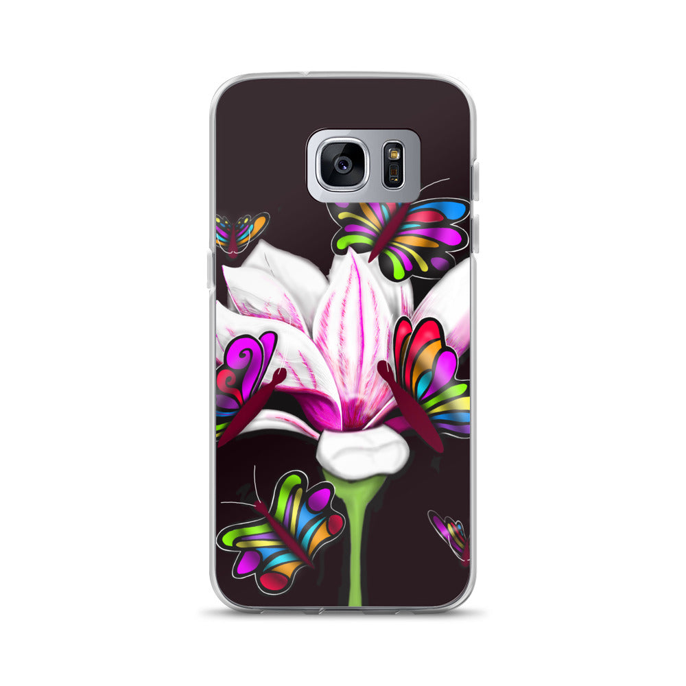 Pinkish Butterfly Flower Floral Samsung Case