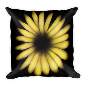 Yellow Abstract Sunflower Throw Pillow