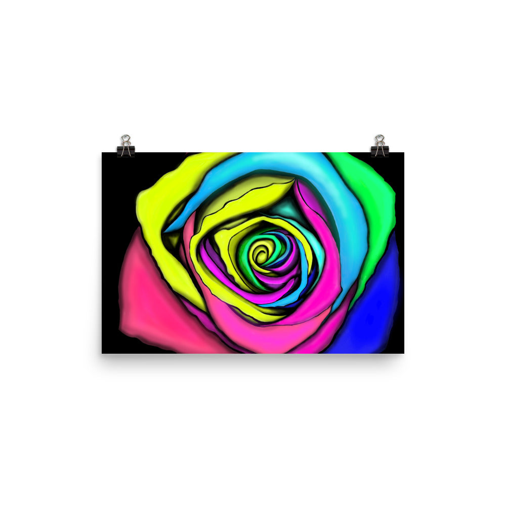 Rainbow Rose Flower Print