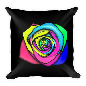 Rainbow Rose Flower Floral Throw Pillow 2